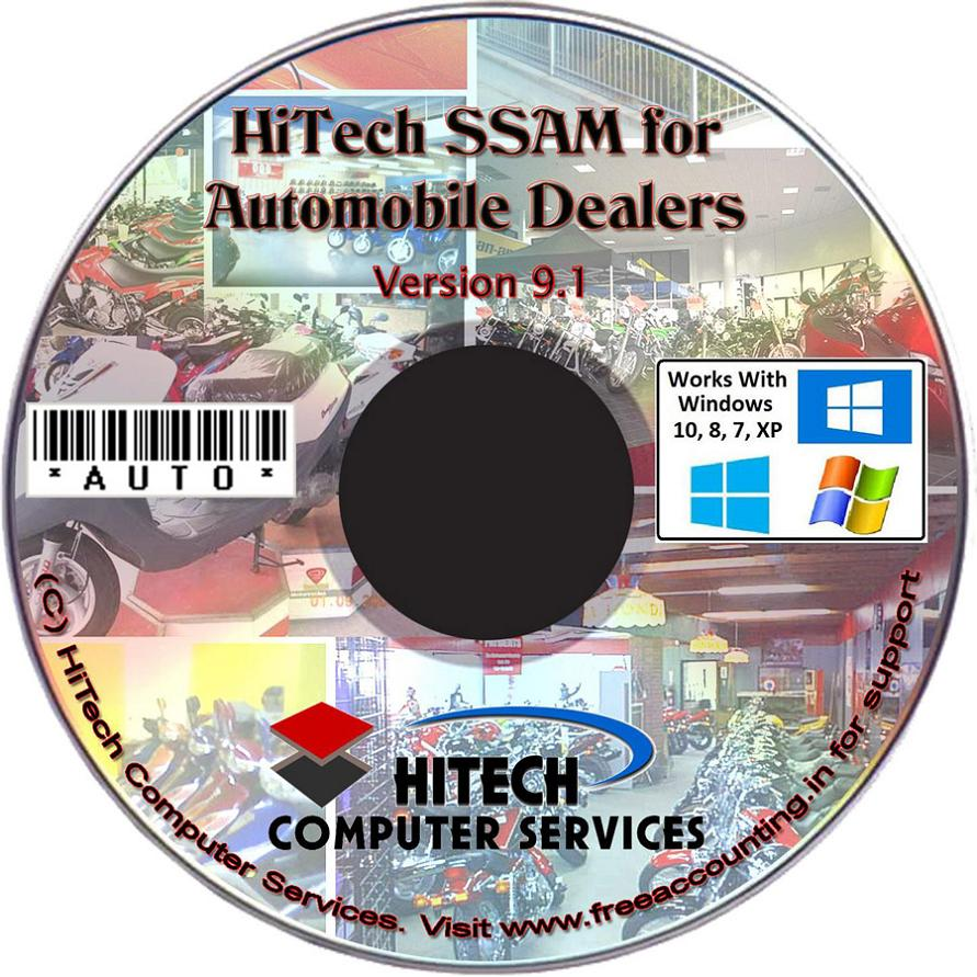 Billing, Inventory control Accounting Software, Software for automobile dealers, two wheelers dealers, service stations. Modules :Customers, Suppliers, Products, Automobiles, Sales, Purchase, Accounts & Utilities. Free Trial Download.
